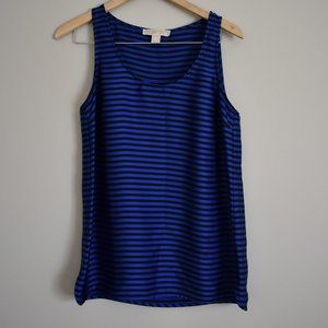 Michael Kors Silky Royal Blue Black Stripe Tank